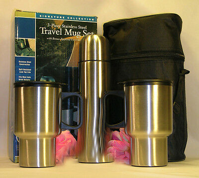 New 4 Piece Silver Travel Mug Set  Cups Thermos Case Winter Sport Hunting Drinks