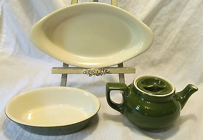 Hall Restaurant Ware Green 4 Piece Set Individual Teapot #550 #521 Oval Dishes