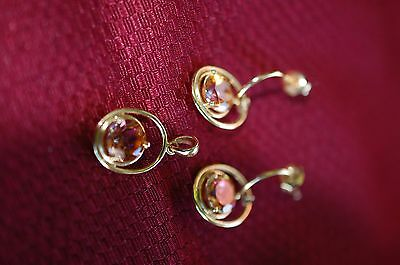 Pink Topaz necklace and earring set 14kt by Chuck Clemency