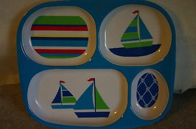 CHILD'S SECTIONAL MELMAC/MELAMINE PLATE FEATURING  A SAIL BOAT
