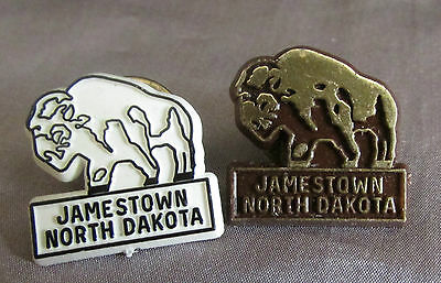 Jamestown North Dakota Bison Gold On Black & Black White On Lapel Pin Lot 2 Pins