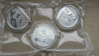 One Sheet (3 Pieces) of China 2014 Silver 5 Oz Panda Coins