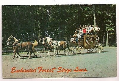 Enchanted Forest IN Chesterton Valparaiso horses Stagecoach Postcard Indiana