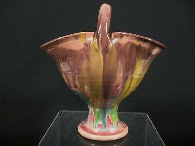 Vintage NORTH CAROLINA Cole Art Pottery BASKET Vase
