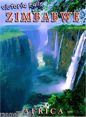 Victoria Falls Zimbabwe Africa African Pride Travel Art Poster Advertisement