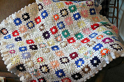 Vintage Handmade CROCHET AFGHAN Granny Square throw blanket Multi-color