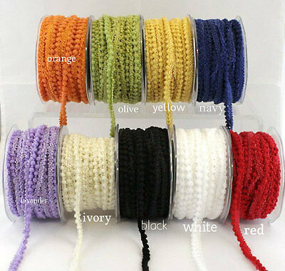 small  Pom Pom Ribbon/trim 3/8 inch wide select color selling by the yard