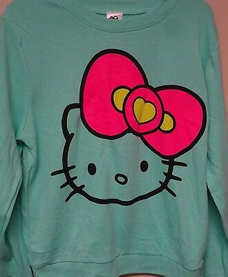 Hello Kitty Women New Licensed Green (Kitty Face with Big Pink Bow) Sweatshirt