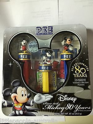 Pez Disney Mickey 80 Years Collection Tin Set of 3 Dispensers & Poster L/D NEW