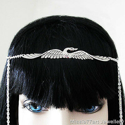 Silver plate Flying Bird Circlet Headpiece Hair Chain with Rhinestones One Size
