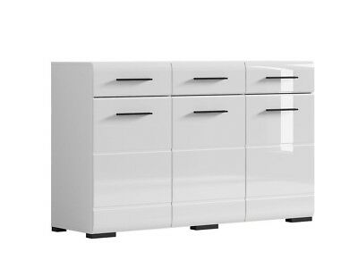 NEW Fever Wide Sideboard Cabinet High Gloss White Doors Drawers Black accents