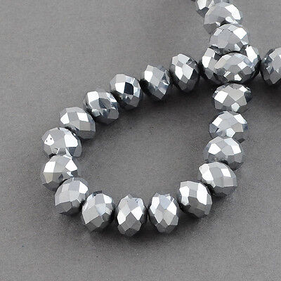 RONDELLE FACETED GLASS CRYSTAL BEADS 6mm, 8 mm  Silver jewellery making
