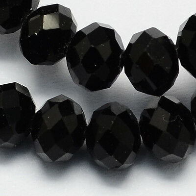 100 pcs RONDELLE FACETED GLASS CRYSTAL BEADS 6 mm BLACK jewellery making
