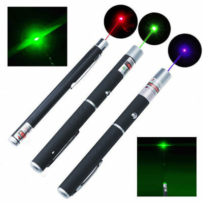 3PCS Green + Blue Violet + Red Light Visible Beam Powerful 5MW Laser Pointer Pen