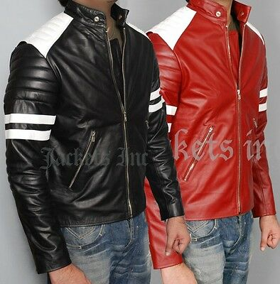 New Fight Club Retro Mayhem BLACK & Red Leather Jacket WHITE STRIPE