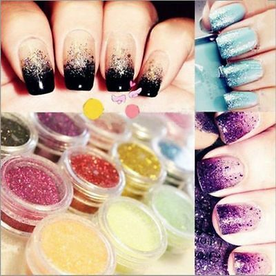 12 Colors Glitter Powder Dust Nail Art Acrylic UV Gel Decoration Tips Set Boxes