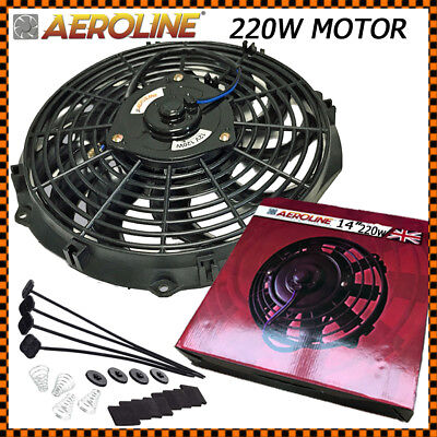 "14"" AeroLine Electric Radiator 12v Cooling Fan High Powered Motor 220w Landrover"