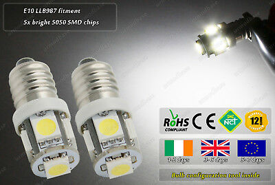 2x E10 Screw Base LLB987 MES LED SMD White Vintage Classic Torch Moped Bulbs 6v