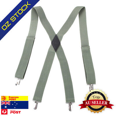 SP2012 Green Solid Popular Hold-up X-back Clip Genuine Suspenders Business Y&G