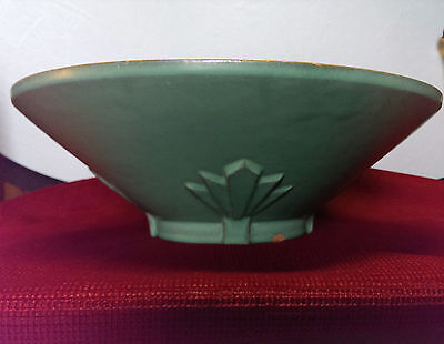 VINTAGE LARGE CATALINA ISLAND ART DECO ART POTTERY BOWL GREEN 1940'S