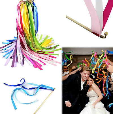10 Pcs Twirling Ribbon Wands Wedding Party Favor Sticks with Bell Bride Groom