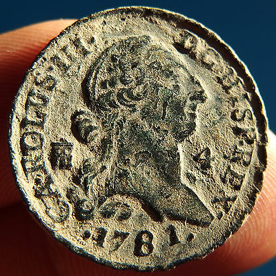 1781 Pirate Cobs Coin 4 Maravedis Carlos Iii Spanish Old Colonial Treasure Time