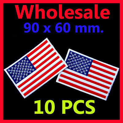 (10 PCS) x Wholesale USA Flag Embroidered American Iron On Patch National Emblem