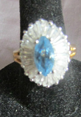 COCKTAIL RING BEAUTIFUL OVAL BLUE MARQUISE & WHITE STONE SILVER GOLD TONE Size 7