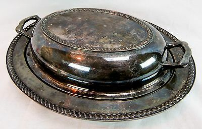 Vintage Arts S, Co. Silver Plate Covered Serving Dish Tray 8x10 Oval Two Handle