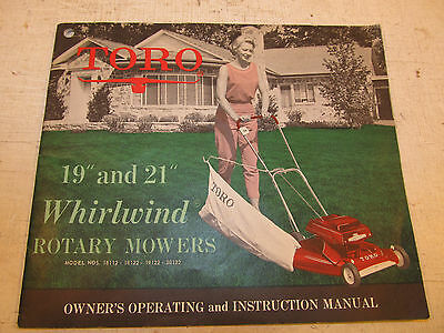 "Vintage TORO WHIRLWIND 19"" 21"" Lawn Mower Owner's Instruction Manual Dated 1961"