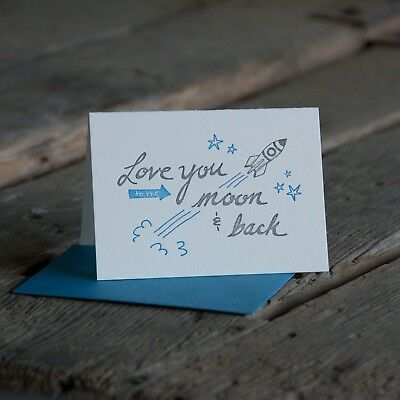 Ladybug Press: Love you too the moon and back card, letterpress printed