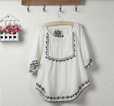 Ethnic Mexican Hippy Boho Floral Beach Gypsy Top Blouse 70s Peasant 100% Cotton