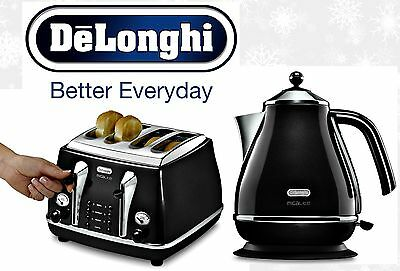 Kettle and Toaster Sets Delonghi Icona 4 Slice Toaster and Electric Kettle Black