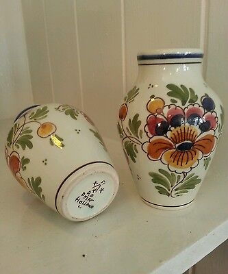 A pair of coloured Dutch Delft Handpainted small vases, vintage vases