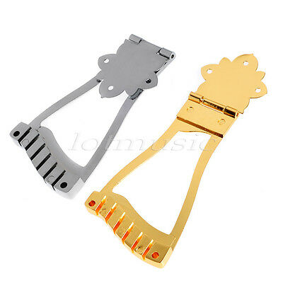 2 Archtop Guitar Bridge Tailpiece For Hollow Body Jazz Guitar Parts Gold Chrome