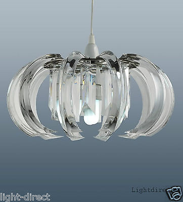 Clarence Clear Crystal Prism Ceiling Pendant Light Shade Easy Fit