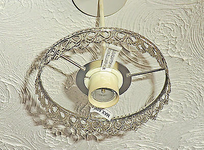 Chandelier Light Pendant 1-Tier Frame Only Old Chrome No Crystals Droplets Drops