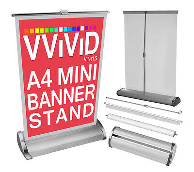 """Retractable A4 Mini Table Top Banner Stand 8.3"""" Wide 12"""" Tall Roll Up Display"""