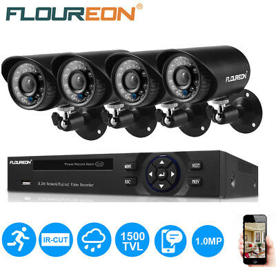FLOUREON 4CH 1080N DVR AHD Outdoor 1500TVL 720P Video Camera Security System Kit