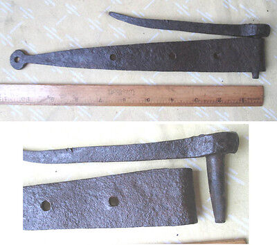 "Vintage Early Hand Forged PENNY HINGE & STUD PEG, 11""Long.C.1850"