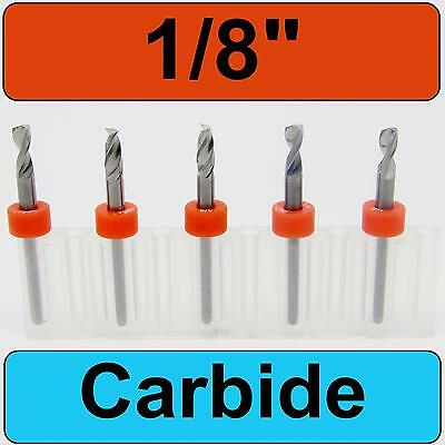 "1/8"" Diameter - 1/8"" Shank  Carbide Drill Bits FIVE Pcs CNC Dremel Model R/S"
