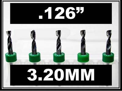 "3.20mm .126"" - 1/8"" Shank  Carbide Drill Bits FIVE Pcs CNC Dremel Model Hobby RS"