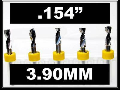 ".154"" - 3.90mm - 1/8"" Shank  Carbide Drill Bits FIVE Pcs CNC Dremel Model Hobby"