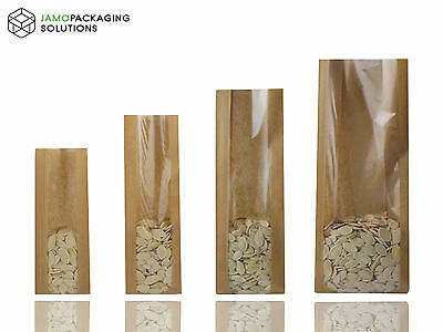 Heat Seal Kraft Brown Paper Bags - Window - Food Grade