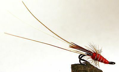 Salmon Fly,Fransis Red , Double Hook. (3-pack) Pick a size. Fly Fishing Fly