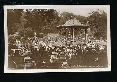 Somerset WESTON-SUPER-MARE Grove Park bandstand & crowds 1911 RP PPC