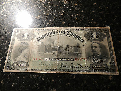 1900 Dominion Of Canada $ 4 Numeral Four Dollars Dc-16 Courtney 944297