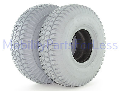 Pair of 3.00-4 Solid Foam Filled Tires - Knobby Tread - Primo Powertrax