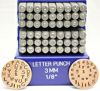 SUPPLY GUY 3mm Papyrus Font Metal Stamp Uppercase, Lowercase or Combo Letter Set