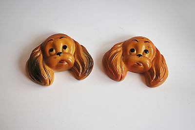 Vintage Pair of Chalk Cocker Spaniel Dogs Wall Hanging Plaques